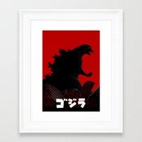 godzilla Framed Art Prints featuring Godzilla by 100rings