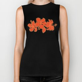 Kailua Hibiscus Hawaiian Engineered Floral Biker Tank