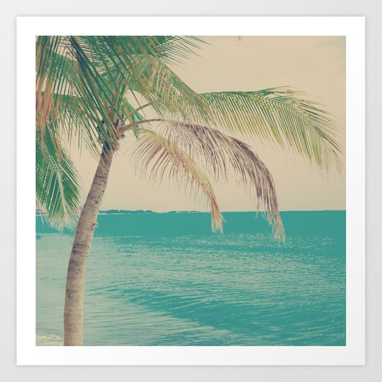Coco Palm in the Beach  Art Print