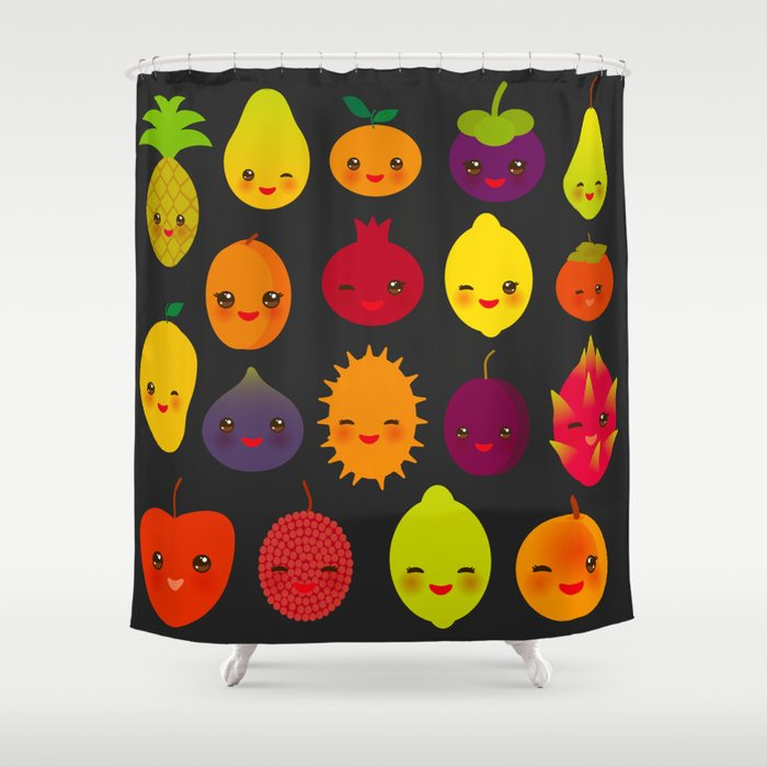 Kawaii Fruit Pear Mangosteen Tangerine Pineapple Papaya Persimmon Pomegranate Lime Shower Curtain By Ekaterinap