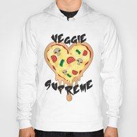 vegetarian Hoodies featuring Veggie Supreme - Deluxe Vegetarian Heart Shaped Pizza  by MagicCircle
