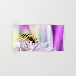 Hover fly and chive blossom Hand & Bath Towel
