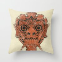 mask Throw Pillows featuring Mask by Guilherme Rosa // Velvia