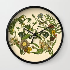 Botanical Pug Wall Clock