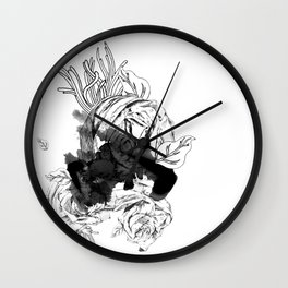 ink flower Wall Clock