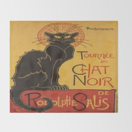 Soon, the Black Cat Tour by Rodolphe Salis Throw Blanket