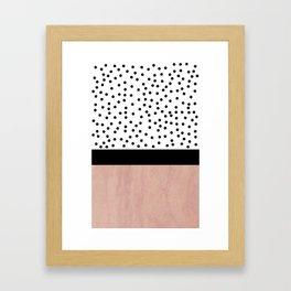 Pink marble and dots Framed Art Print