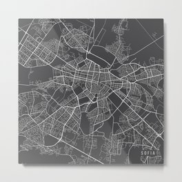 Sofia Map, Bulgaria - Gray Metal Print