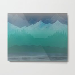 Ombre Mountainscape (Blue, Aqua) Metal Print