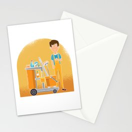 Creep Into Building Janitor Mop Cleaners Cleaning Gift Stationery Cards