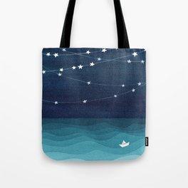 Garlands of stars, watercolor teal ocean Tote Bag