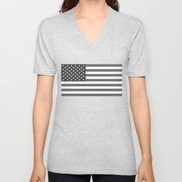 "The national flag of the USA - Authentic ""G-spec"" 10:19 scale - B&W version Unisex V-Neck"