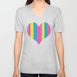 Neon Striped Heart Unisex V-Neck