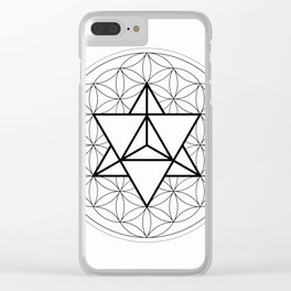 Sun Tetrahedron on Flower of Life Clear iPhone Case