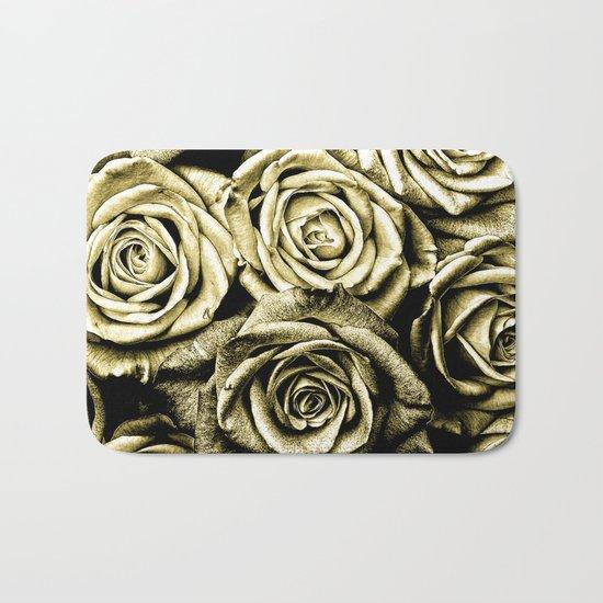 Vintage Gold Roses Bath Mat