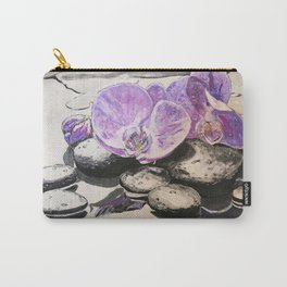 Orchids on black stones Carry-All Pouch