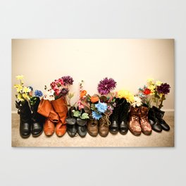 Boots and Florals Canvas Print