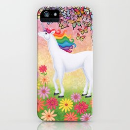 whimsy (rainbow unicorn), butterflies, African daisies iPhone Case