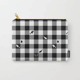 Black and White Checkered Animals Carry-All Pouch