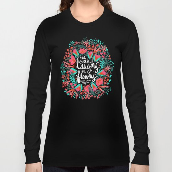 The Earth Laughs in Flowers – Pink & Charcoal Long Sleeve T-shirt