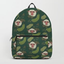 Macaques & Squash (forest green) Backpack