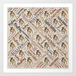 English Bulldog Word Art Art Print