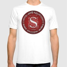 Joshua 24:15 - (Silver on Red) Monogram S MEDIUM Mens Fitted Tee White