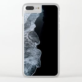 Waves on a black sand beach in iceland - minimalist Landscape Photography Clear iPhone Case