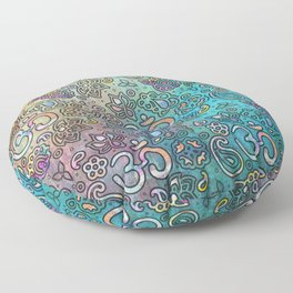 Pastel  Turquoise watercolor  OM symbol pattern Floor Pillow