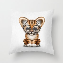 Cute Baby Tiger Cub Wearing Eye Glasses on White Throw Pillow