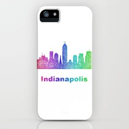 Rainbow Indianapolis skyline iPhone Case