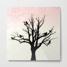 Tree & Birds Silhouette Damask Backdrop Metal Print