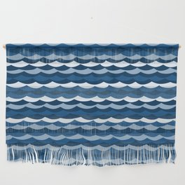 Classic Blue Wave Pattern Wall Hanging