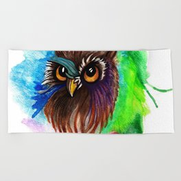 Watery Owl Beach Towel