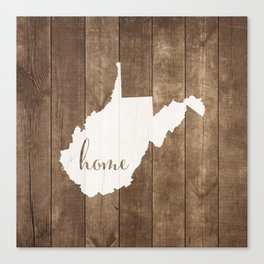 West Virginia is Home - White on Wood Canvas Print