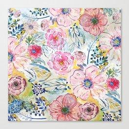 Watercolor hand paint floral design Canvas Print