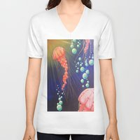 jelly fish V-neck T-shirts featuring Jelly Fish by Little Mama