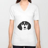 dachshund V-neck T-shirts featuring Dachshund by anabelledubois
