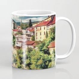 Mostar Old Bridge painting, old city of Mostar scenery, Stari Most Bosnia, nature travel art poster Coffee Mug
