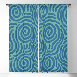 Ripple Effect Pattern Blue and Green Blackout Curtain