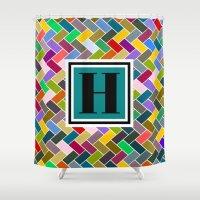 monogram Shower Curtains featuring H Monogram by mailboxdisco