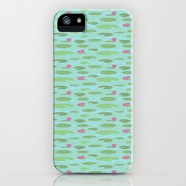 Small Vintage Florida Lily Pads Pattern iPhone Case