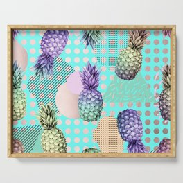 Pineapple Summer Rainbow Rose Gold Serving Tray