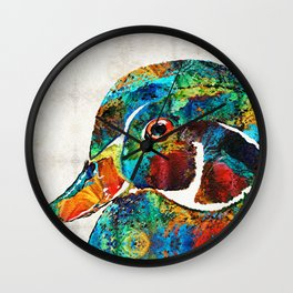 Colorful Wood Duck Art by Sharon Cummings Wall Clock
