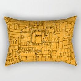 Houses - orange Rectangular Pillow