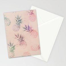 Soft Pastel Pineapple Pattern Stationery Cards