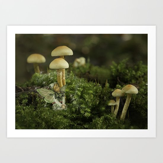 Pixie and 'shrooms Art Print