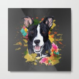 Black pup Metal Print