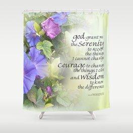 Serenity Prayer Morning Glories Glow Shower Curtain