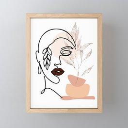 Female Line Art, Single Line Floral Art, Woman's Face Drawing, Botanical Prints, Leaf Face Art Print Framed Mini Art Print